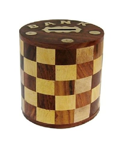 Antique Chess Pattern Embosed Cylendrical Shaped Wooden Money Bank - Coin Saving Box - Piggy Bank - Gifts for Kids, Girls, Boys & Adults,...