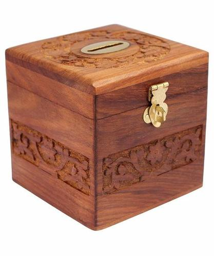 Wooden Coins Storage Box, Money Bank With Carving Work And Lock. Piggy Bank For Kids, Gift For Christmas Or Birthday