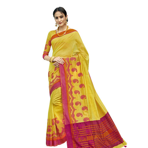 Indian Cotton Border Lace Work Saree With Blouse Pieces