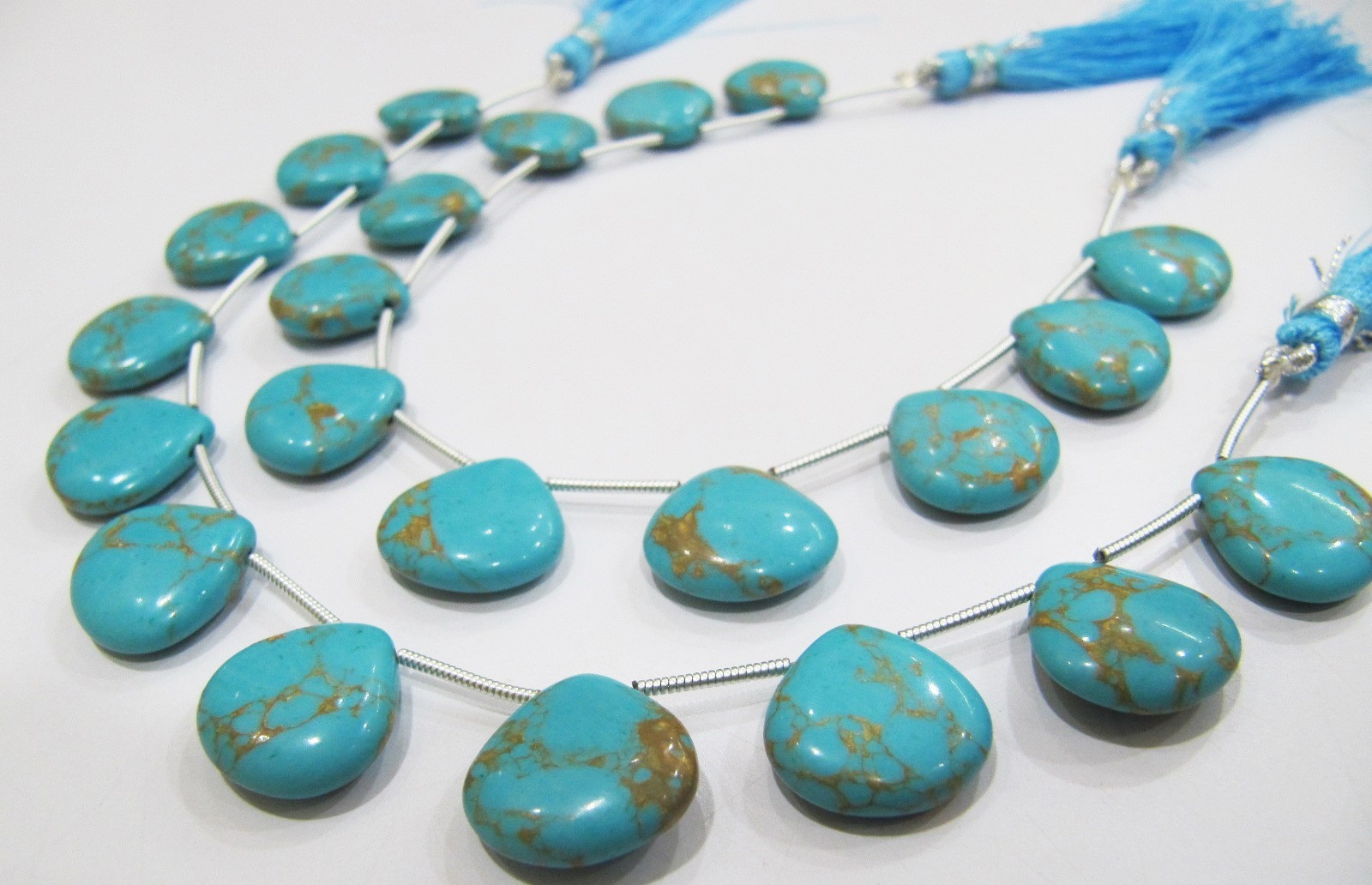 AAA Quality Blue Copar Turquoise Smooth Plain Beads .