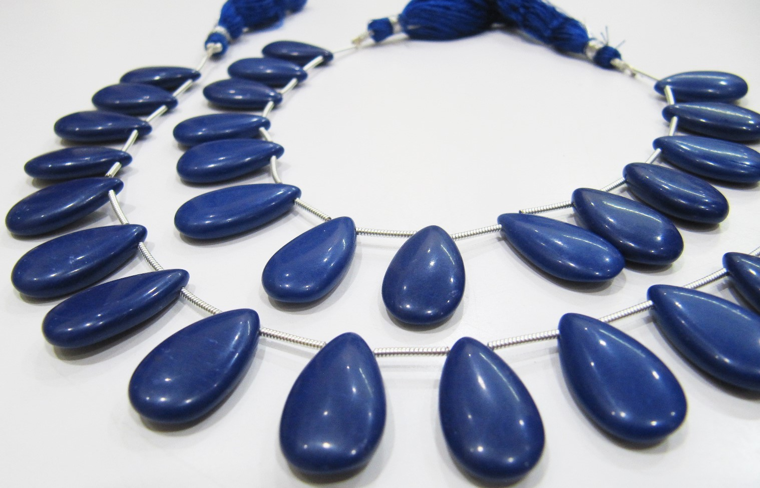Lapis Hydro Quartz Pear Shape Plain Smooth  Beads
