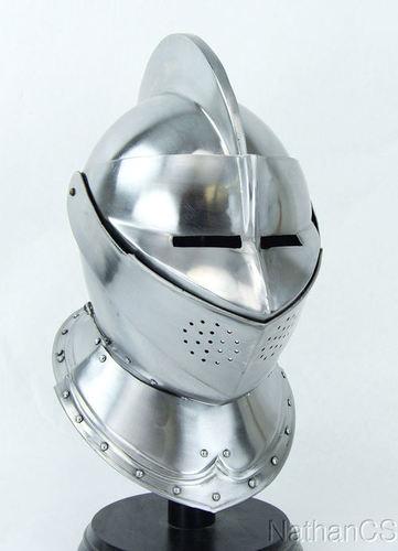 Metal Medieval Knight Burgonet European Closed Armor Helmet Halloween Role Play Replic