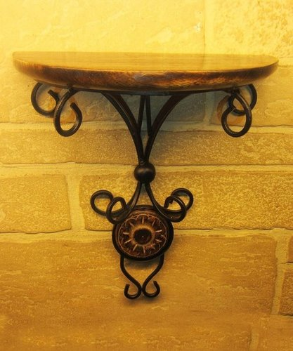 Wood Corner Wall Hanging Decorative Bracket Shelf (Black, 8x4x10.5-inch)