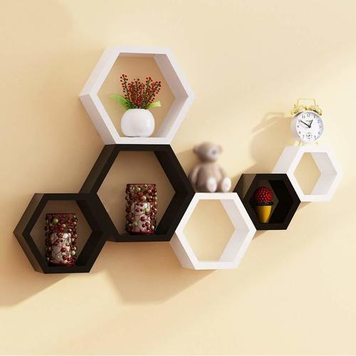 hexagon shape floating wall shelves set of 6 (black&white) Home Décor gift Item