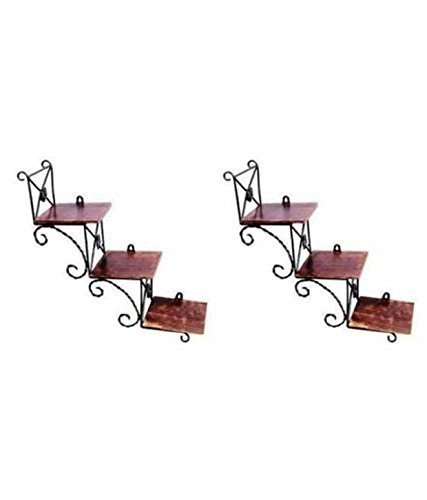 Beautiful Wooden Wall Hanging Shelf a Unique Wall Art in Stair Shape - Set of Two