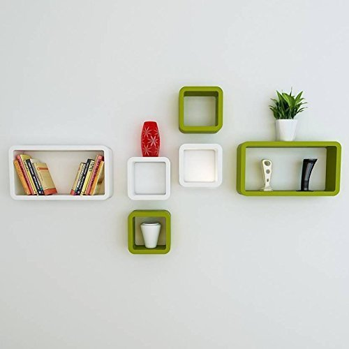 Hexagonal Wooden Wall Shelf (Number of Shelves - 6, Green, White)