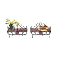 Wooden & Wrought Iron Wall Bracket | Book Rack | Cloth Hanger Set Of 2