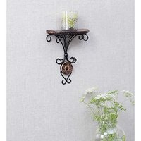 Beautiful Wood & Wrought Iron Fancy Brown Wooden Handicrafts Wall Shelf