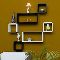 Wood Rack Black and White Wall Wooden Wall Shelf (Number of Shelves - 6, Black, White)