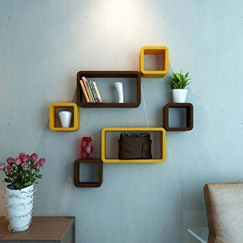Wall Shelf Wooden Wall Shelf (Number of Shelves - 6, Brown, Brown)