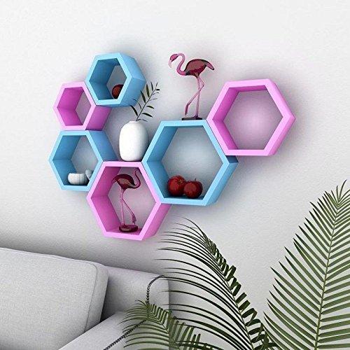 Wall Shelf Rack Hexagon Shape Storage Wall Shelves - Blue & Pink Set Of 6