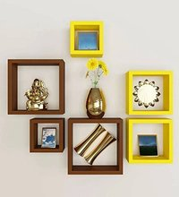 Brown & Yellow Decorative 6 Pcs Set Wooden Wall Shelf (Number of Shelves - 6, Multicolour