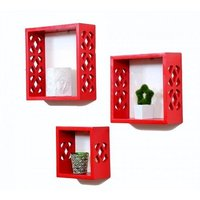 Wooden Wall Shelf (Number of Shelves - 3, Red)