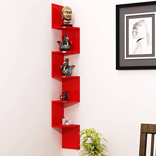 Wooden Wall Shelf (Number of Shelves - 5, Red)