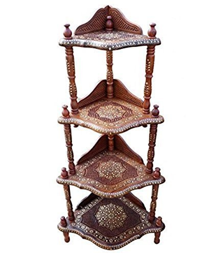 Wooden 4-Shelf Corner Rack with Fine Jali Copper Brass Work
