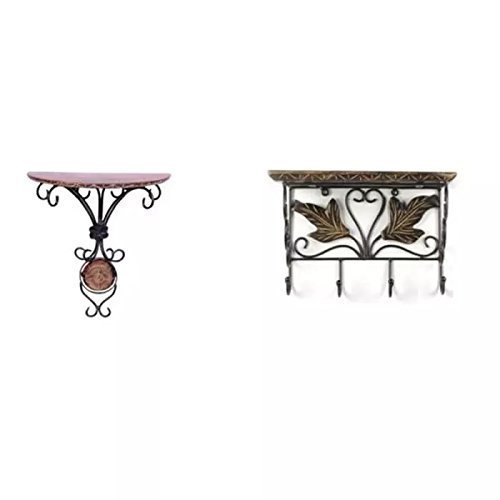 Wooden & Wrought Iron Wall Bracket | Book Rack | Cloth Hanger & Wall Decor Rack Wall Shelves , Wall Shelf