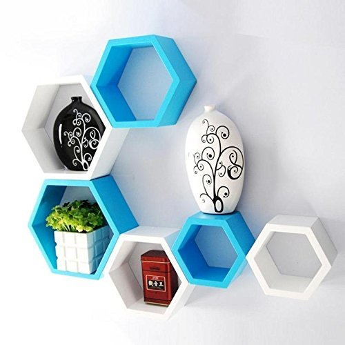 hexagon shape floating wall shelves set of 6 (blue and white) Home Décor gift item
