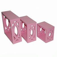 Wooden Wall Shelf (Number of Shelves - 3, Pink )