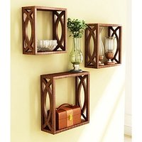 Wooden Wall Shelf (Number of Shelves - 3, (walnut brown)