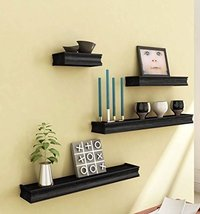 Wooden Wall Shelf (Number of Shelves - 3, Black)