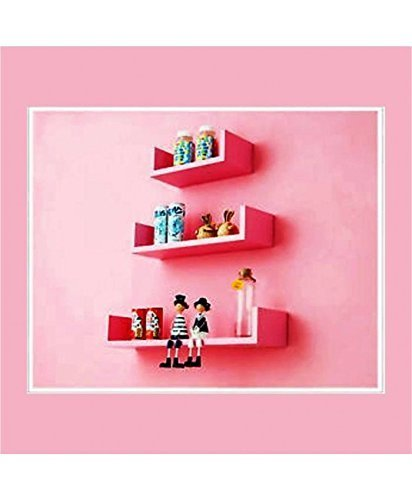 Wooden Wall Shelf (Number of Shelves - 3, Pink)