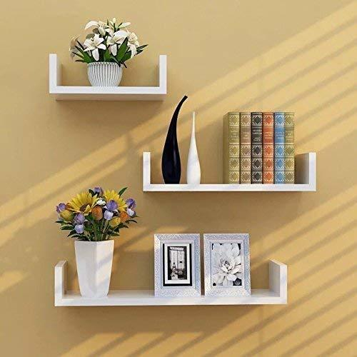 Set of 3 Floating U Shape Shelves for Storage Display Shelf