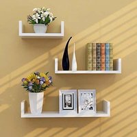 Wooden Wall Shelf (Number of Shelves - 3, Blue)