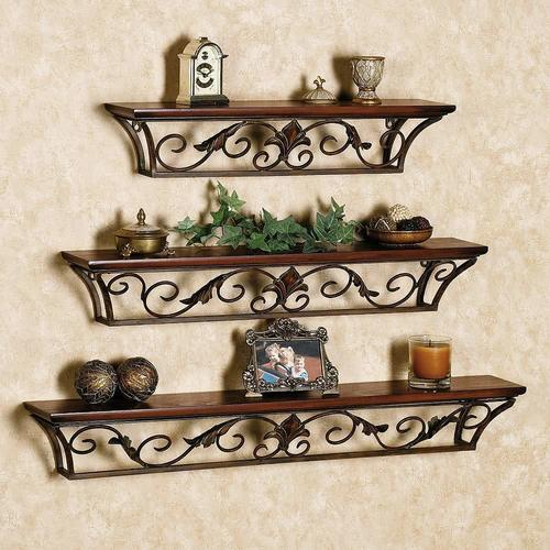 Wooden Iron Wall Shelf Wall Bracket Floating Wall Shelves Set of 3