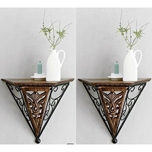 Wood & Wrought Iron New Fancy Wall Bracket Pack Of 2