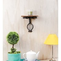 Wooden & Wrought Iron Wall Bracket Size (Lxbxh-10X5X9) Inch