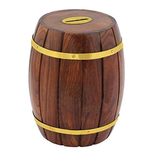 Decorative Handmade Wooden Barrel Shape Money Bank/Piggy Bank/Coin Box {Cai-Hd-0041/Size(Inch) : 6X4X4}
