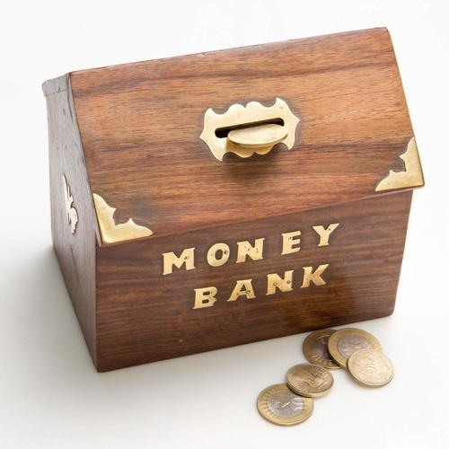 Handcrafted Antique Wooden Money Bank - Coin Saving Box - Piggy Bank - Gifts for Kids, Girls, Boys & Adults, 5 Inches
