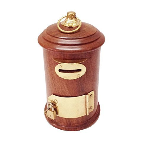 Handcrafted Antique Post Box Wooden Money Bank - Coin Saving Box - Piggy Bank - Gifts for Kids, Girls, Boys & Adults, 5 Inches