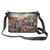 Women Hand Painted Leather Shoulder Sling Bag Floral Designer College Vanity