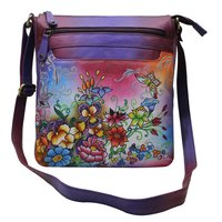 Women Hand Painted Sling Cross Body Bag Leather Shoulder Bag Adjustable Strap