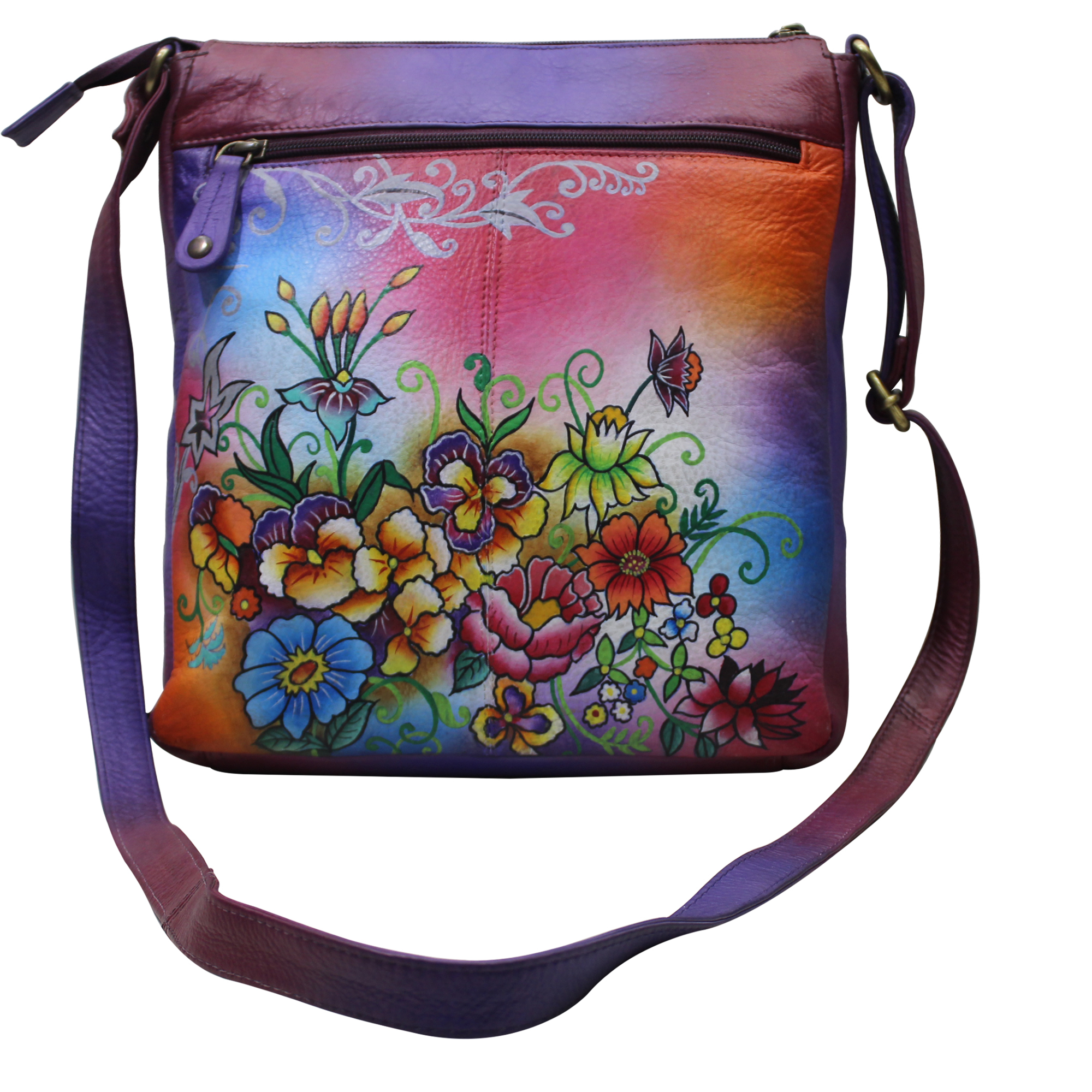 Women Hand Painted Leather Cross Bag