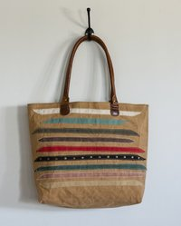 strips patch tote bag