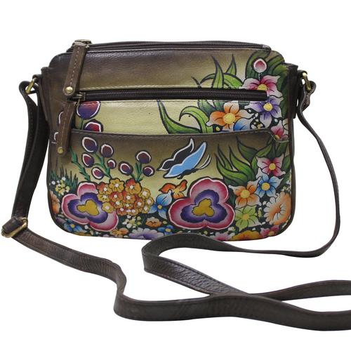 Women Hand Painted Floral Designer Body Bag Cross Sling Travel Vanity Purse