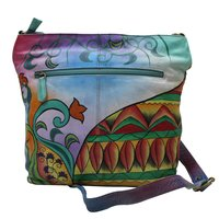 Women Hand Painted Messenger Leather Bag Stylish Abstract Shoulder Vanity Purse with Adjustable Shoulder Strap