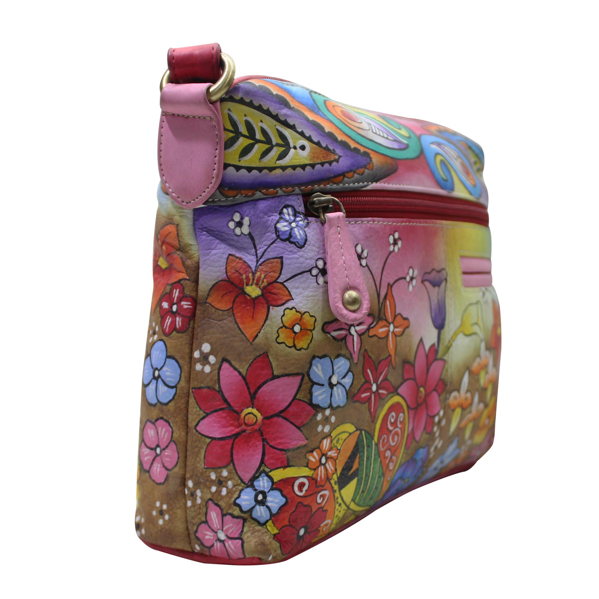 Hand Painted Leather Shoulder Bag