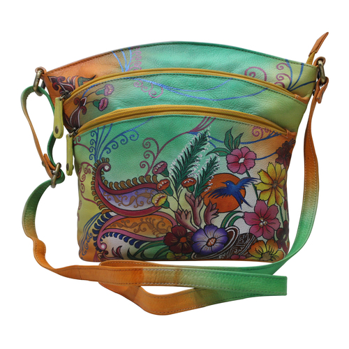 Women Hand Painted Shoulder Bag with adjustable Leather Strap Floral Vanity