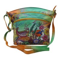 Women Hand Painted Shoulder Bag with adjustable Leather Strap Floral Vanity