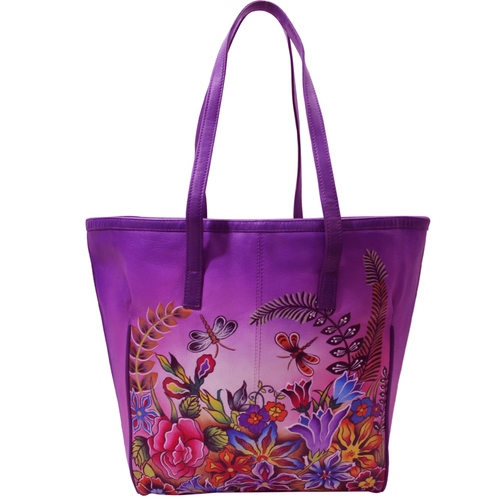 Women Hand Painted Leather Tote Bag