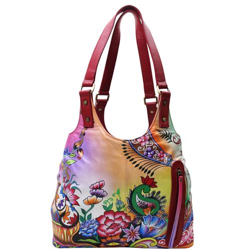 Women Hand Painted Shoulder Bag Stylish Ladies Hobo Floral Designer Bag