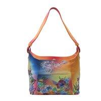 Women Hand Painted Leather Shoulder Bag Floral Designer Vanity Purse