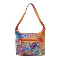 Women Hand Painted Leather Shoulder Bag Floral Designer Vanity Purse