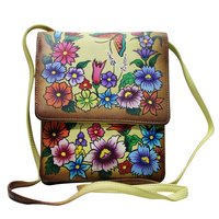 Women Hand Painted Leather Sling Bag Stylish Cross Body Bag