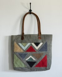 printed triangle patch tote bag