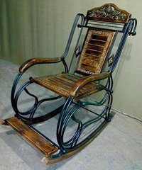Wooden & Iron Rocking Chair (Multi-color)