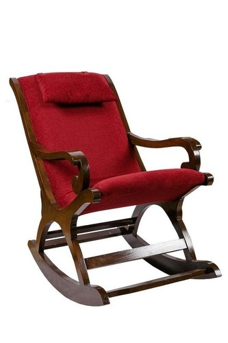 Cushioned Back & Seat, Teak Wood Rocking Chair